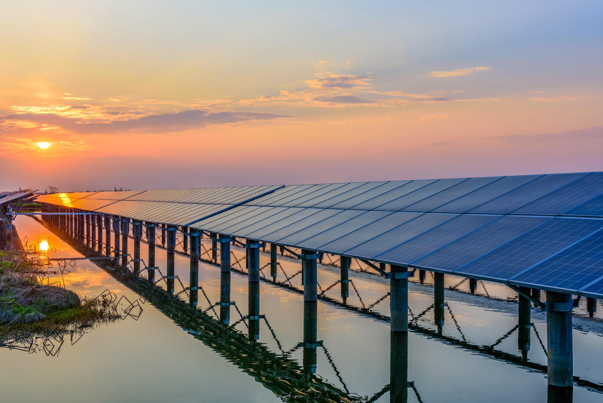 solar panel grid, sunset, sun energy