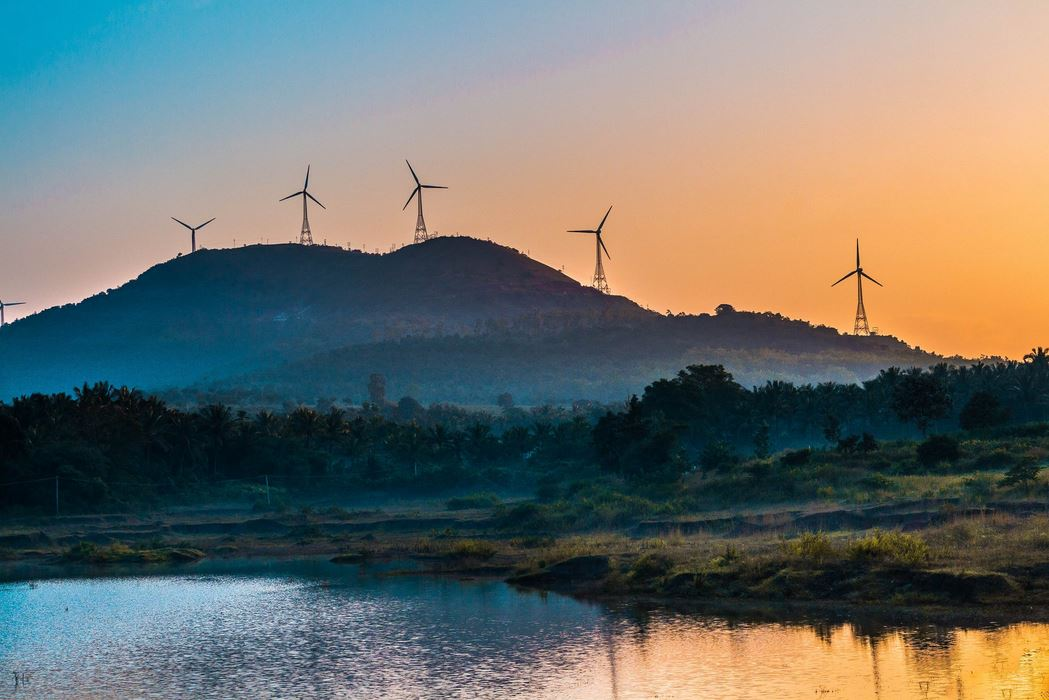 wind turbines, sunset, renewable energy