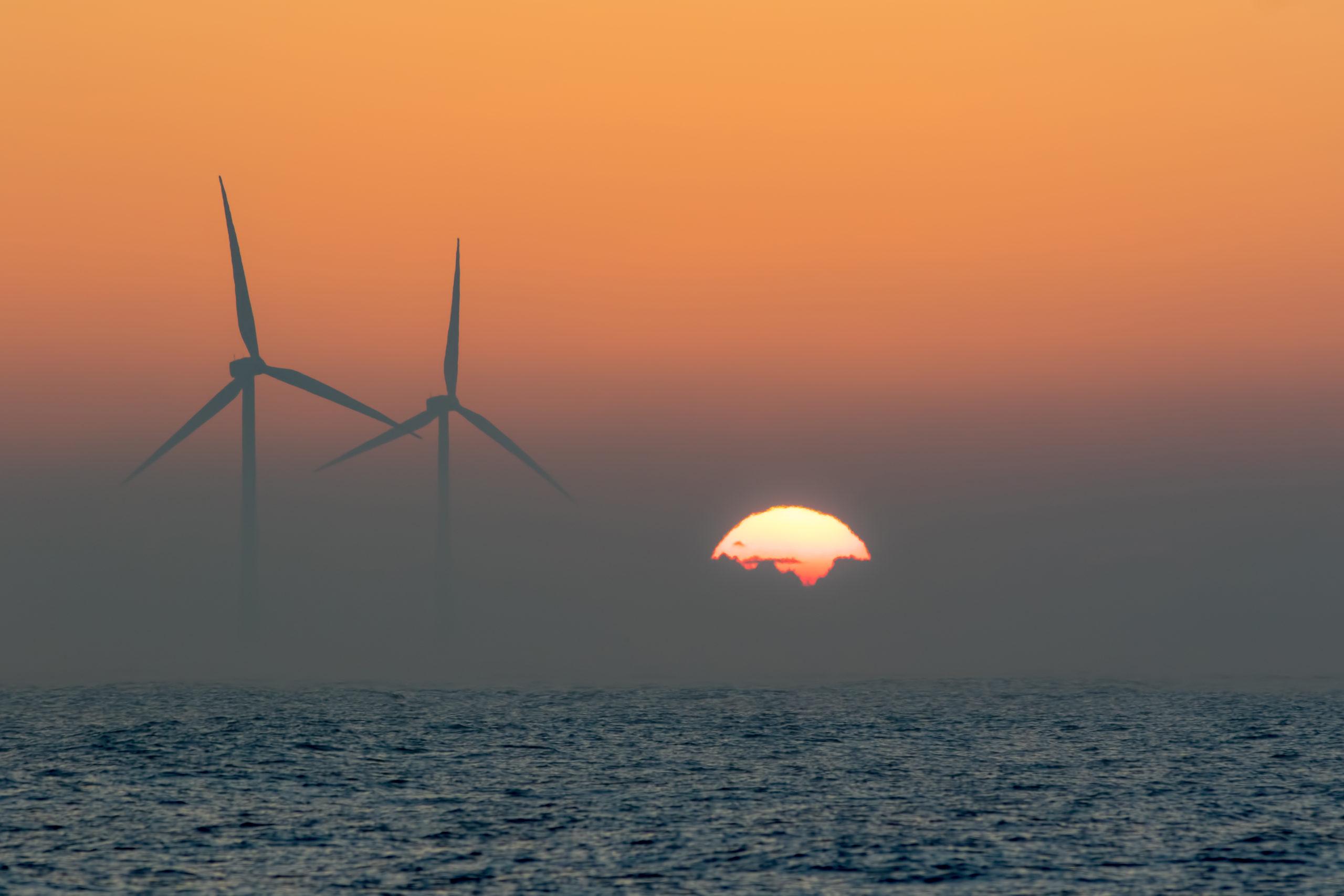 offshore wind turbines, renewable, sunset, energy